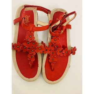 Jambu Red Floral Sandals 6 Medium